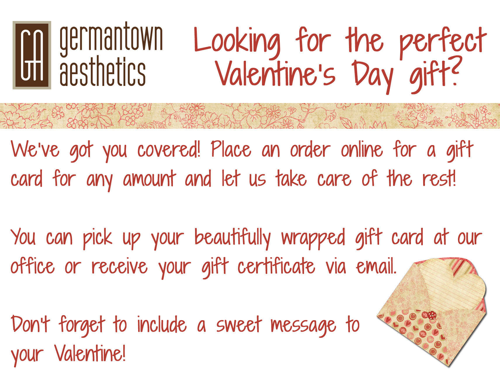 Valentines Day Gift Card Email copy  Cosmetic Surgery in Memphis